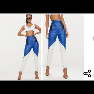 Blue leather trousers